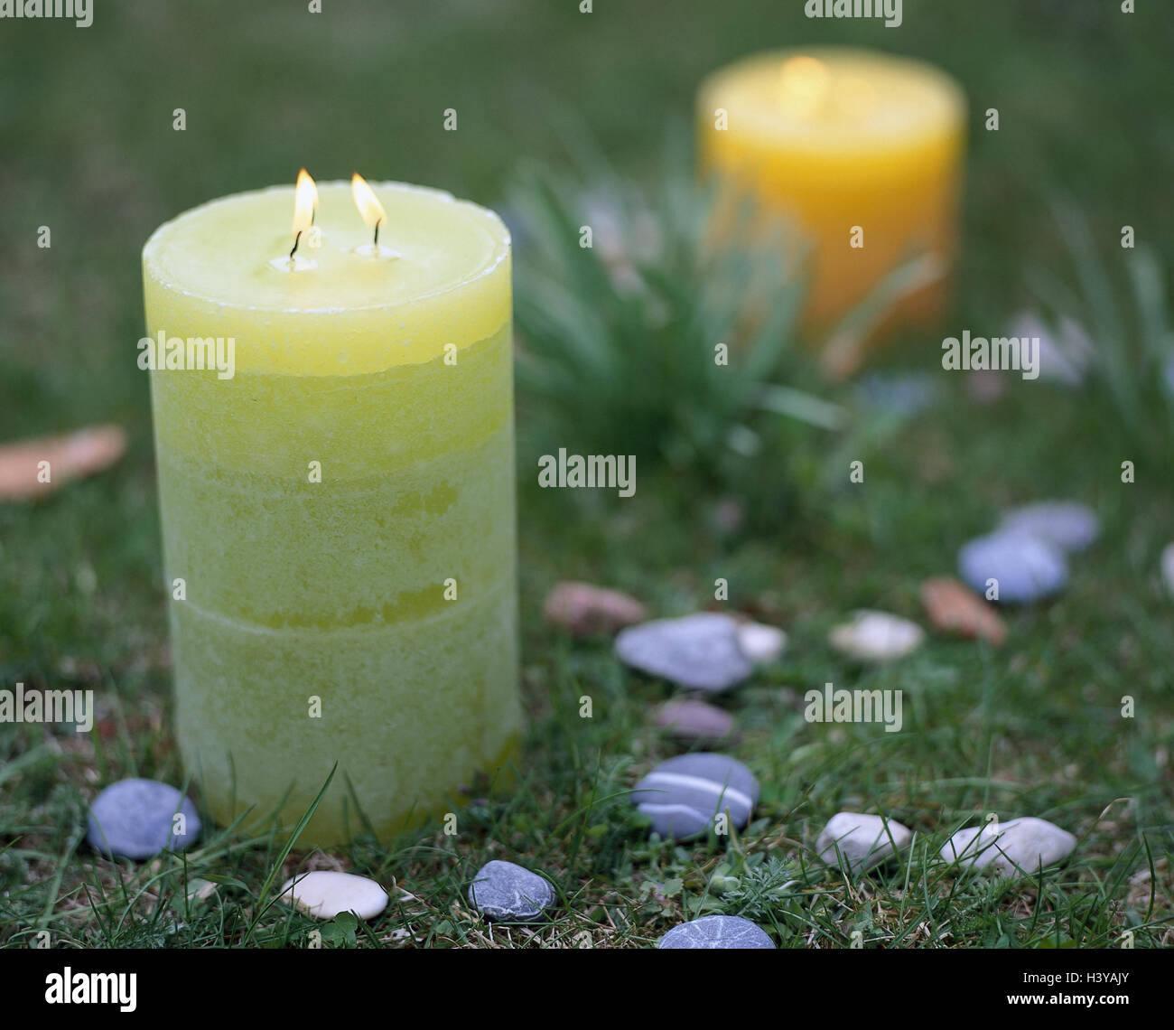 Meadow, candles, blast, stone circles, Still life, candle, odour candles, flames, light, candle light, lighted, - Stock Image