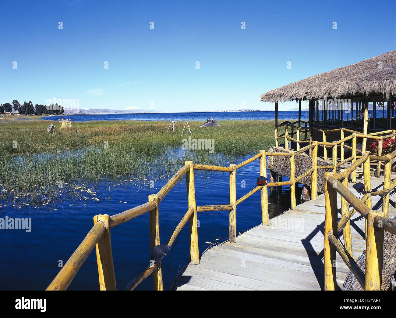 Bolivia, Titicacasee, hut, bridge, water, outside, South America, lake, water, construction method, traditionally, - Stock Image