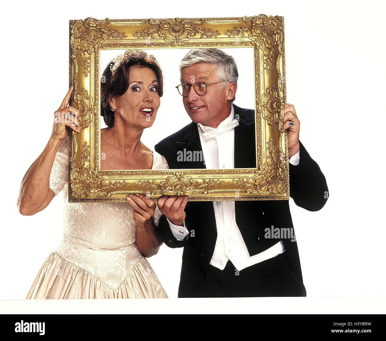 Wedding, bride and groom, picture frame, half portrait, marriage ...