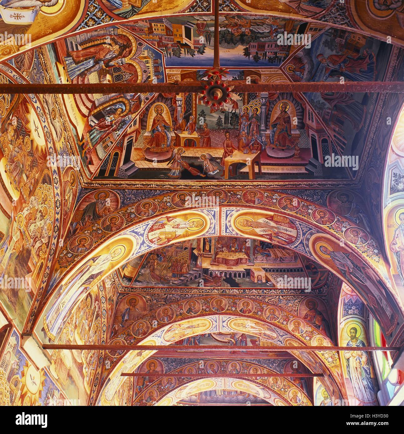 Greece, Athos, cloister, Lawras, Katholikon, arcade, frescoes Hagion Oros, Ajion Oros, Chalkidike, Chalkidiki, peninsula, - Stock Image