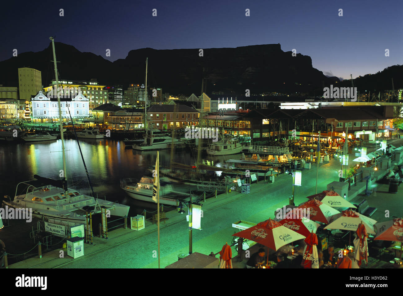 South, Africa, Capetown, harbour, Victoria & Alfred Waterfront, mesa, 1086 m, night, Africa, province, west - Stock Image