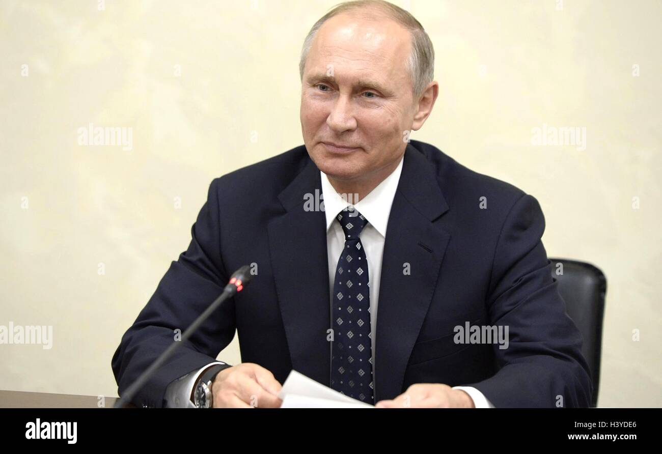 Russian President Vladimir Putin during a meeting with representatives of international sports organizations taking - Stock Image