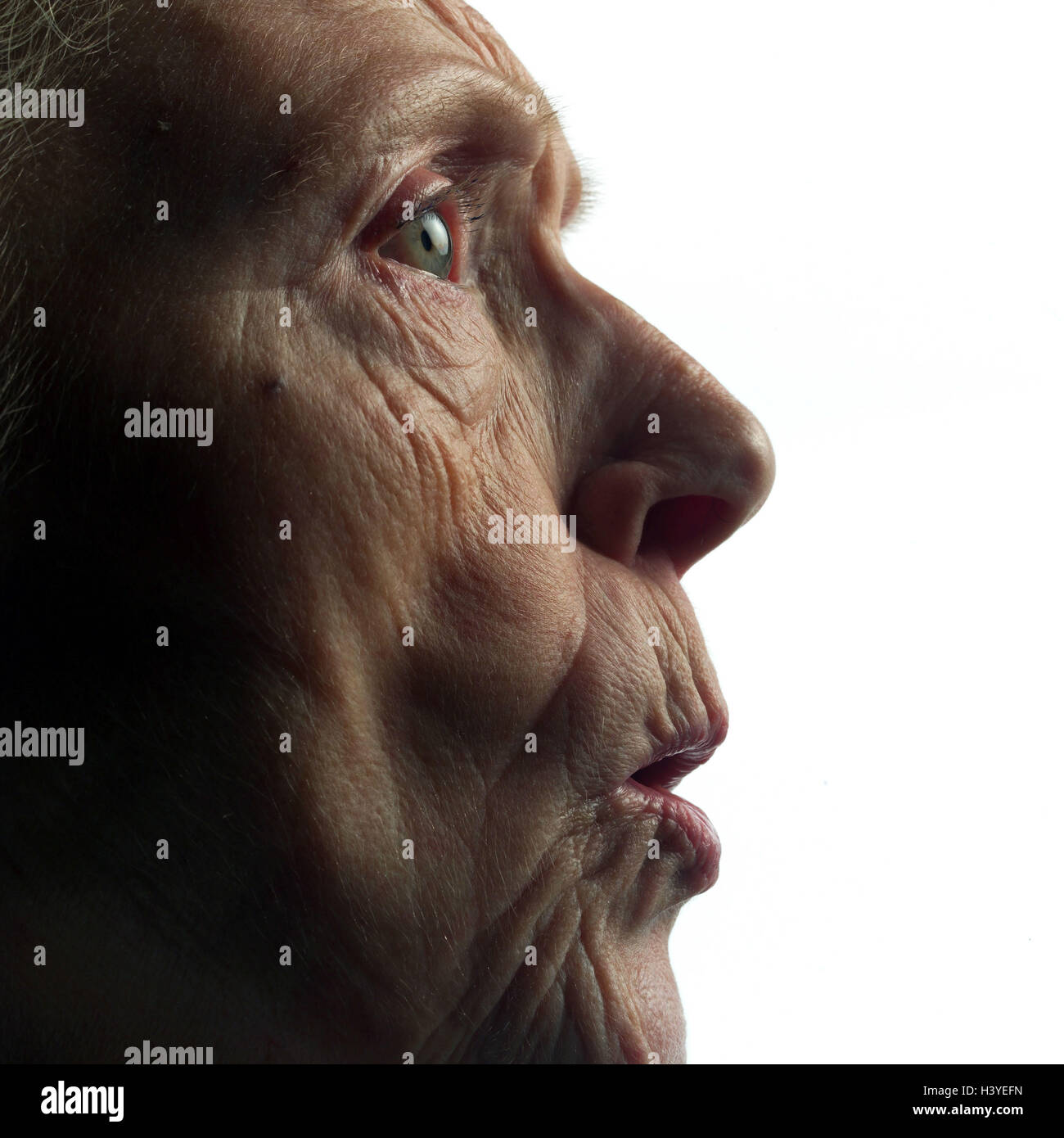 Senior, annoys, tread, detail, model released, studio, cut out, pensioner, woman, old, old age, look, shell, creased, Stock Photo