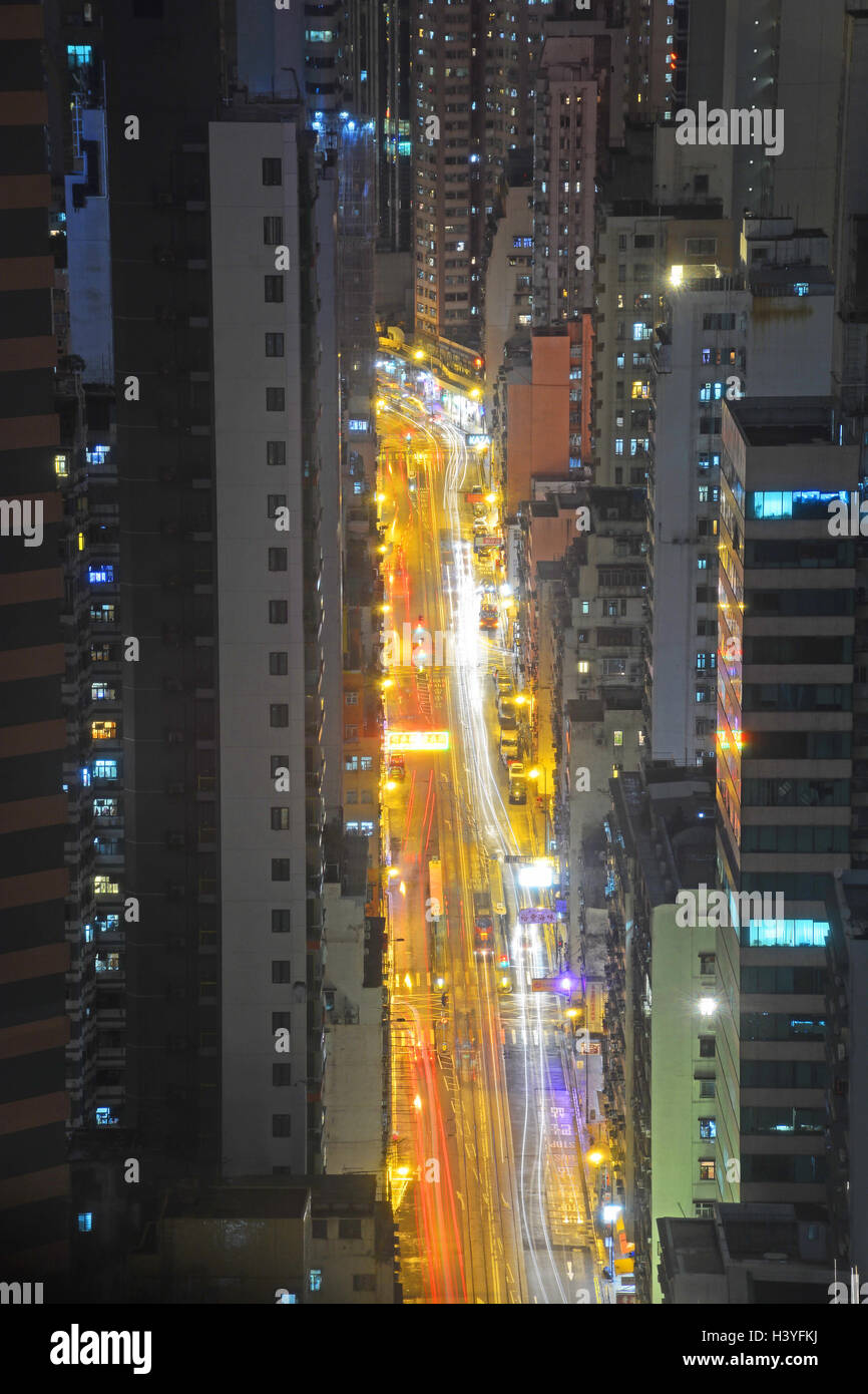 aerial view on Des Voeux road by night Hong Kong island China - Stock Image