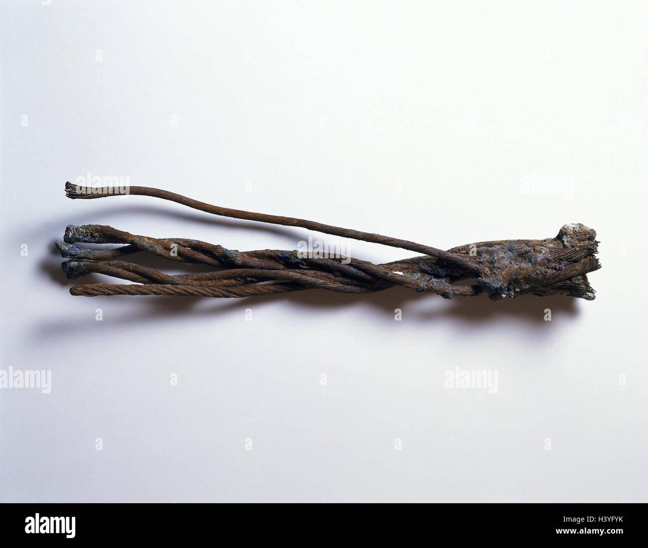 Steel rope, broken, old, rusty, rope, wire rope, iron, metal, scrap ...