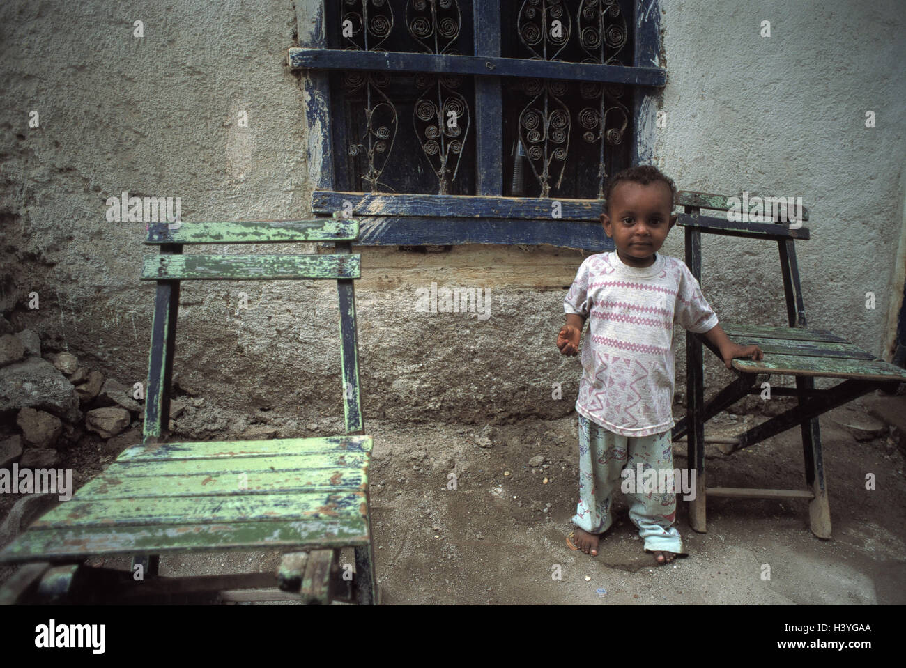 Eritrea, Massawa, House, Child, Chairs, Africa, North, Africa,  Nordostafrika, Republic, Massaua, Mitsiwa, Port, Residential House, Old,  Detail, Outside Wall ...