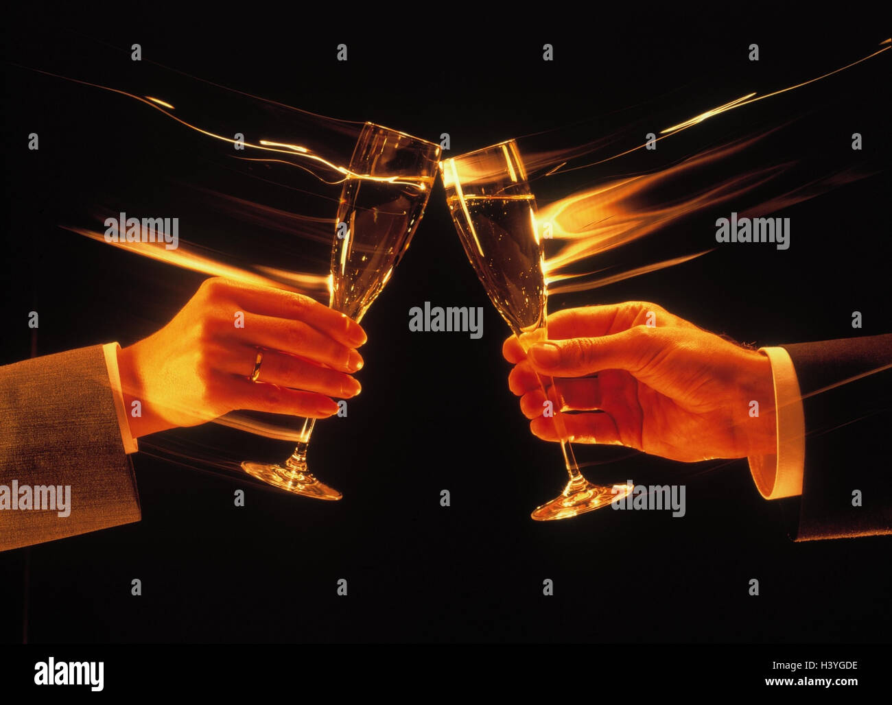 Business transaction, business people, couple, detail, hands, glasses, Sparkling Wine, kick off, [M], studio, inside, - Stock Image
