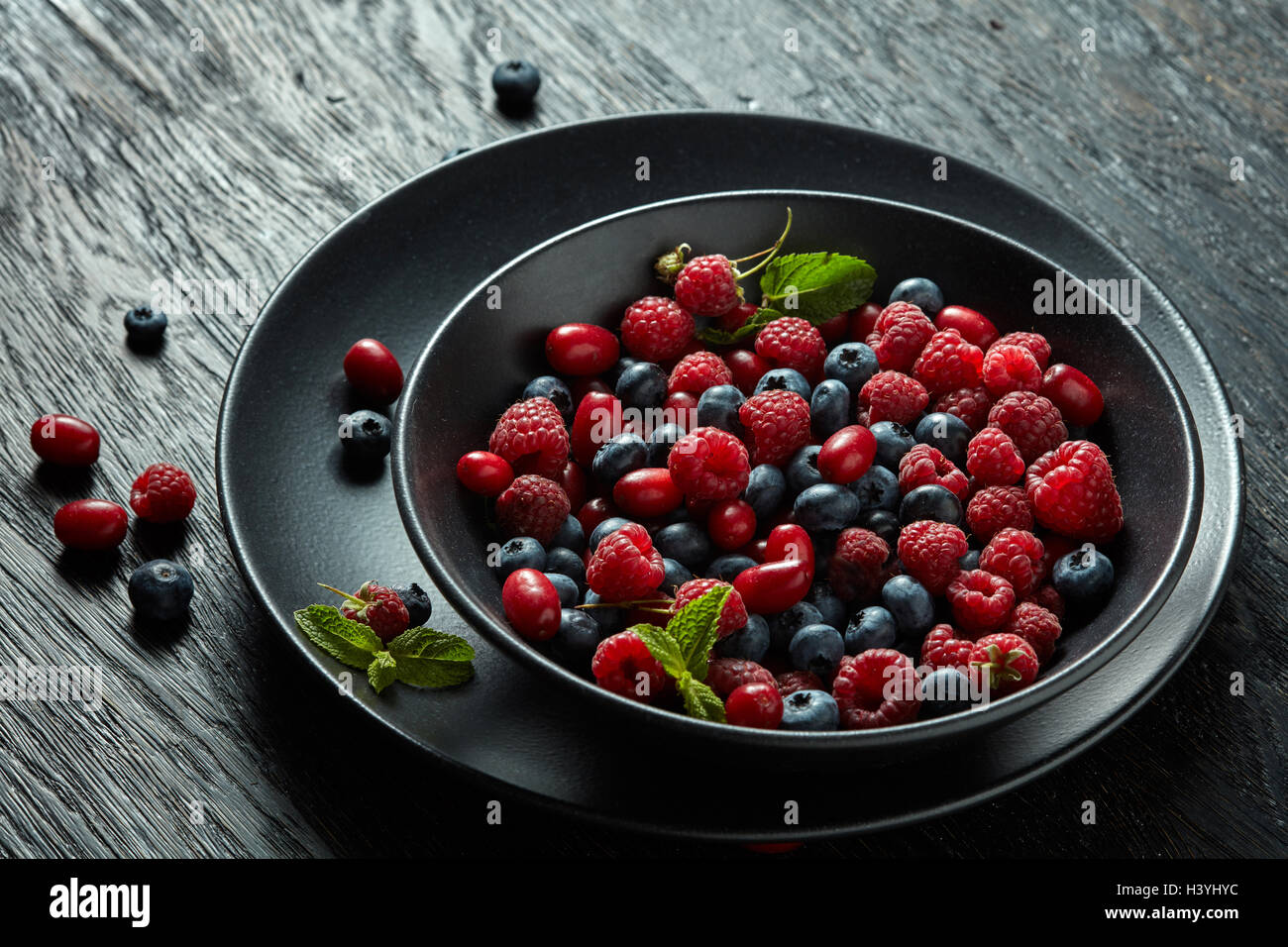 fresh berries on black background Stock Photo