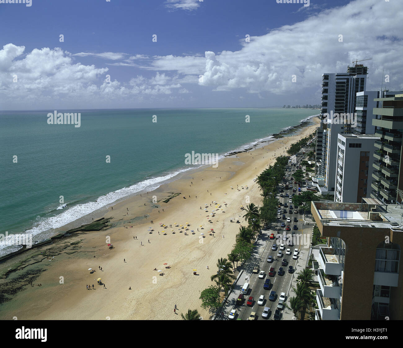 Brazil, province Pernambuco, Recife, suburb Boa Viagem, town view with high rises, sandy beach, sea - Stock Image