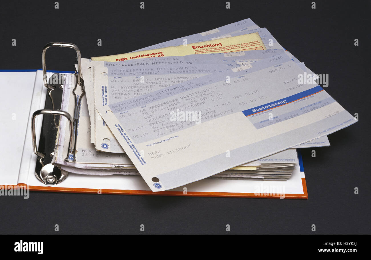 Folder, bank statements, bank statement, bank statement, bank, banking transactions, voucher, credit balance, material - Stock Image