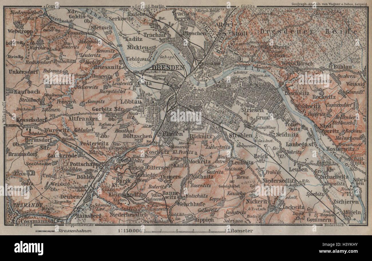 Dresden Environs Umgebung Saxony Karte Baedeker 1904 Old
