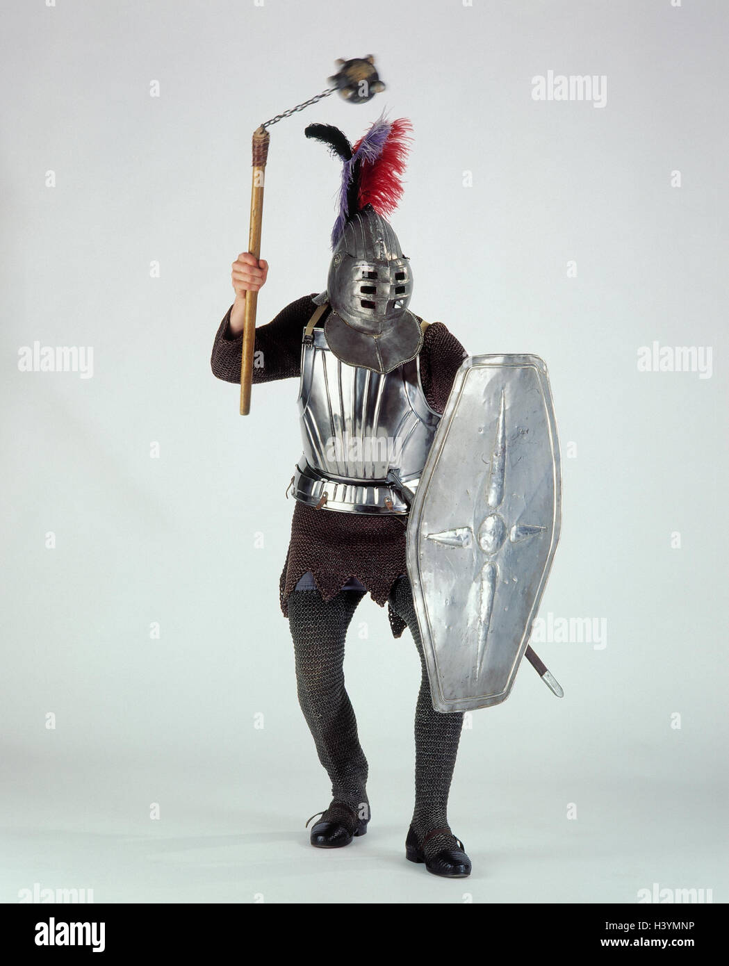 Knights, armament, knight's helmet, shield, weapon, medievally, knight's armament, metal network suit, mammary - Stock Image