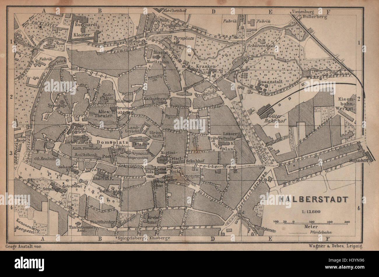 HALBERSTADT antique town city stadtplan. Saxony-Anhalt karte Stock ...