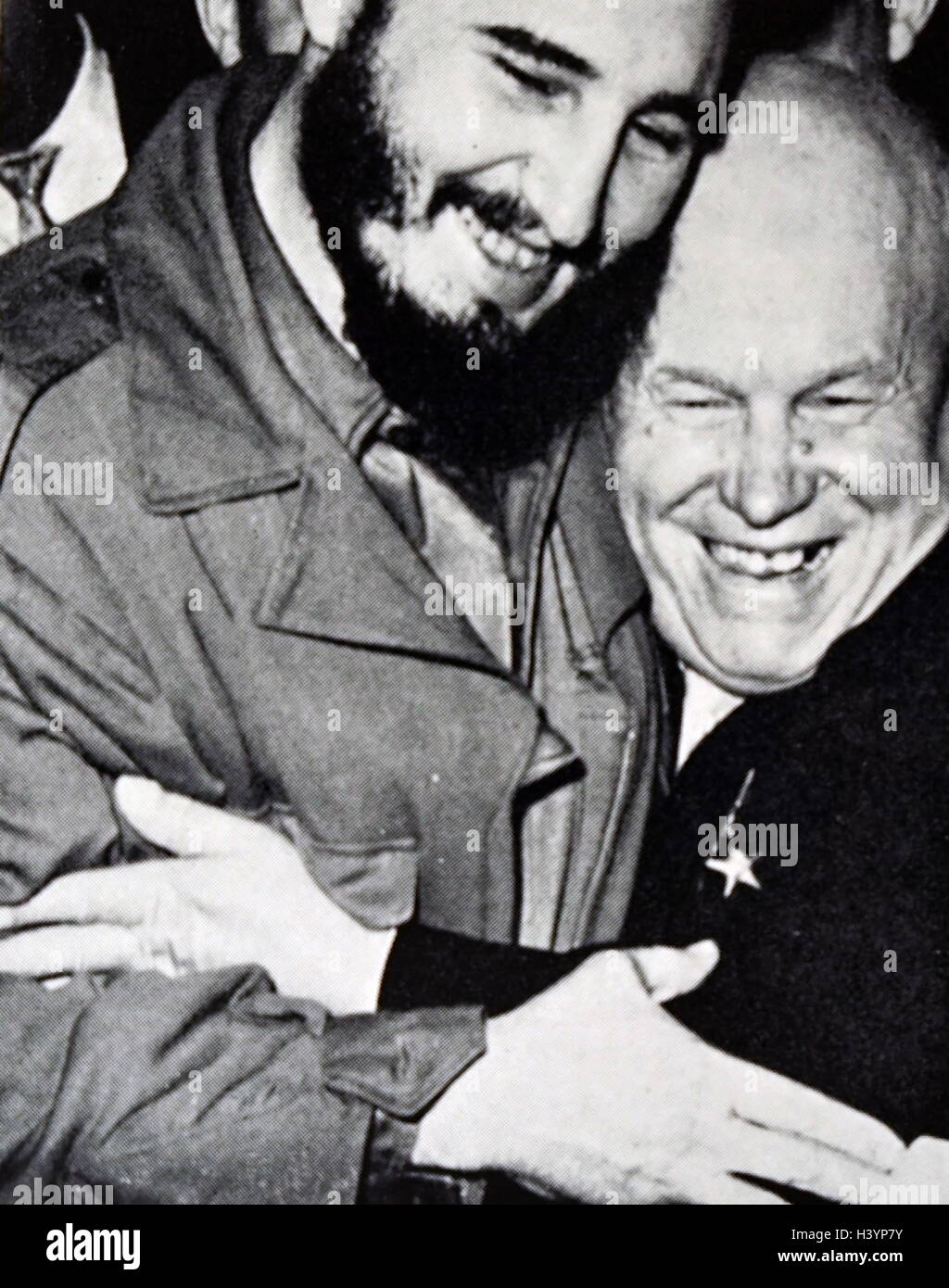 Photograph of Nikita Khrushchev with Fidel Castro - Stock Image
