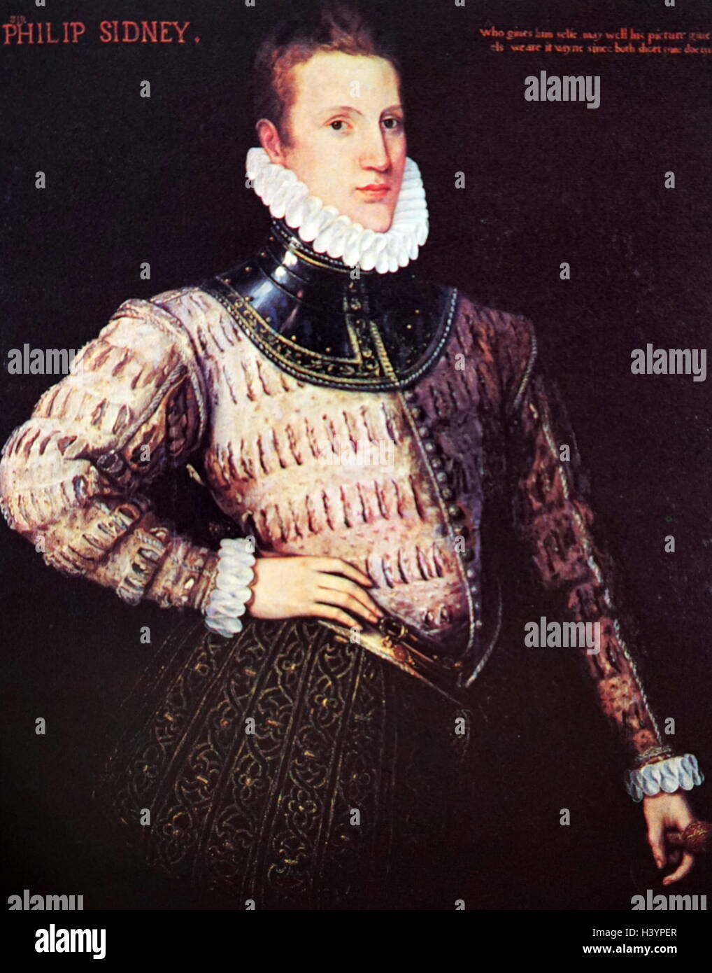 Portrait of Philip Sidney (1554-1586) an English poet, courtier, scholar, and soldier. Dated 16th Century - Stock Image