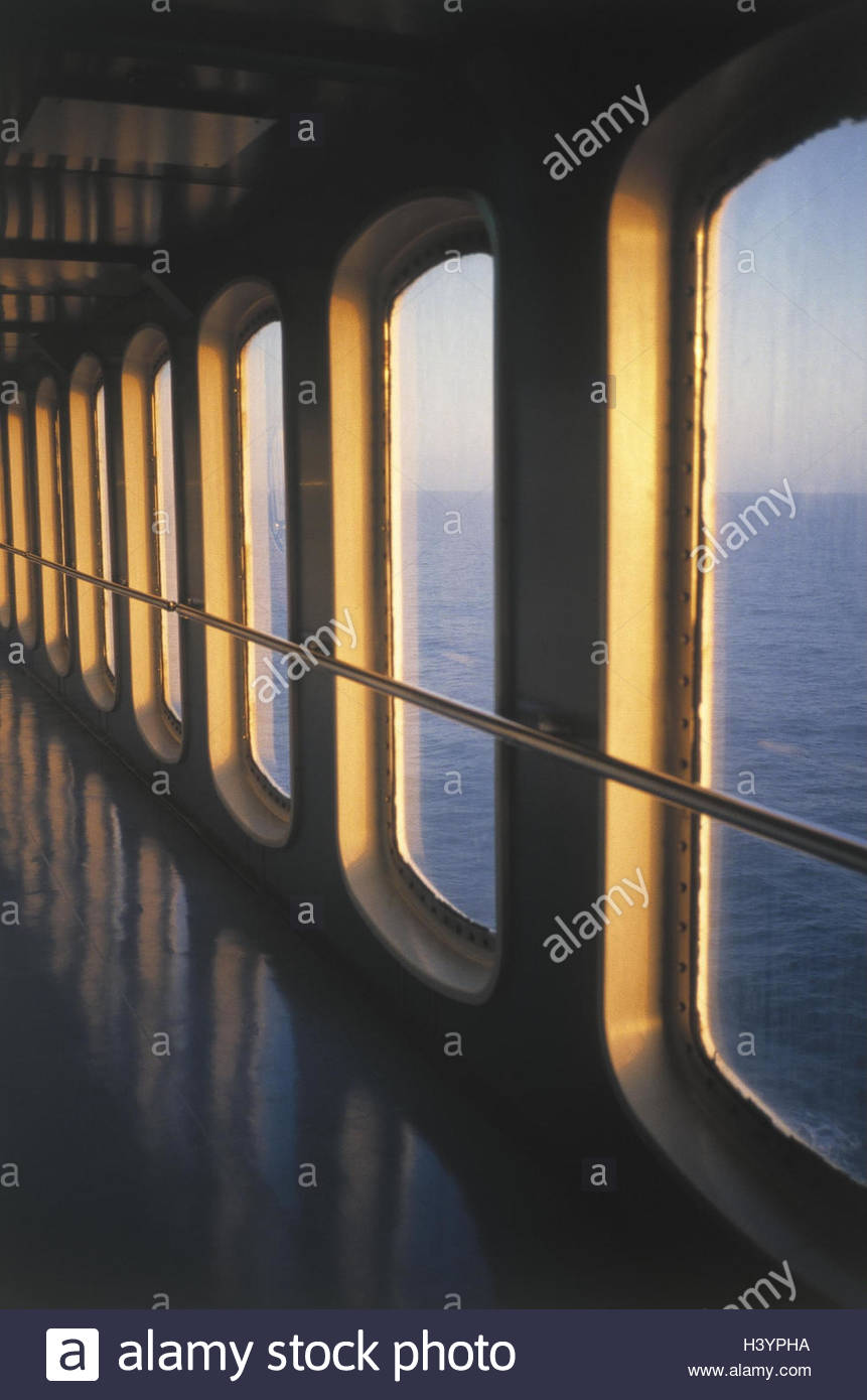 Ferry, hall, window, view, sea, Europe, Spain, itinerary, Majorca, Barcelona, ferryboat, Fährverbindung, connection, - Stock Image