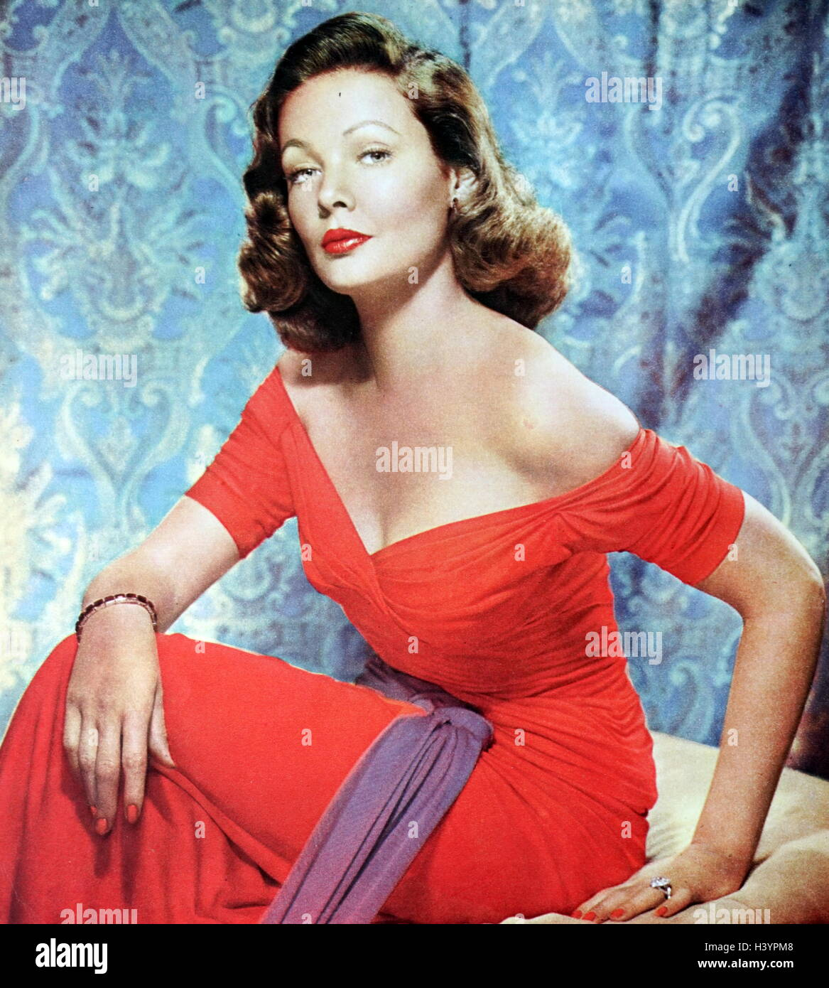 Photograph of Gene Tierney (1920-1991) an American film and stage actress. Dated 20th Century - Stock Image