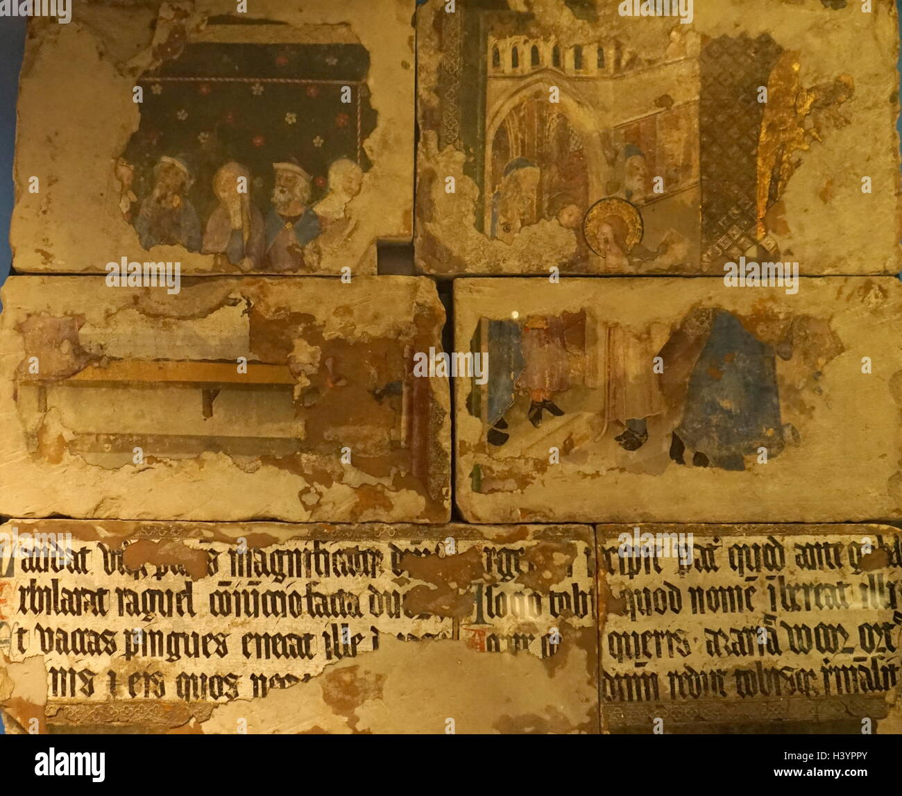 Medieval English wall painting from St Stephen's Chapel; - Stock Image