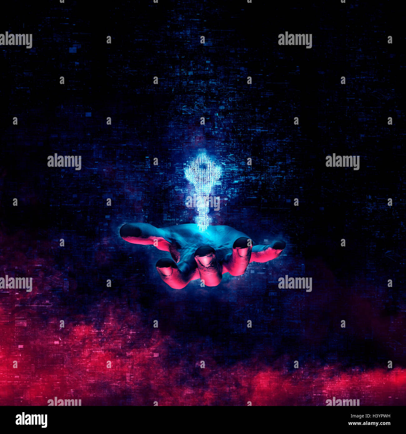 Data security key concept / 3D illustration glowing key formed by binary digits floating above open hand - Stock Image