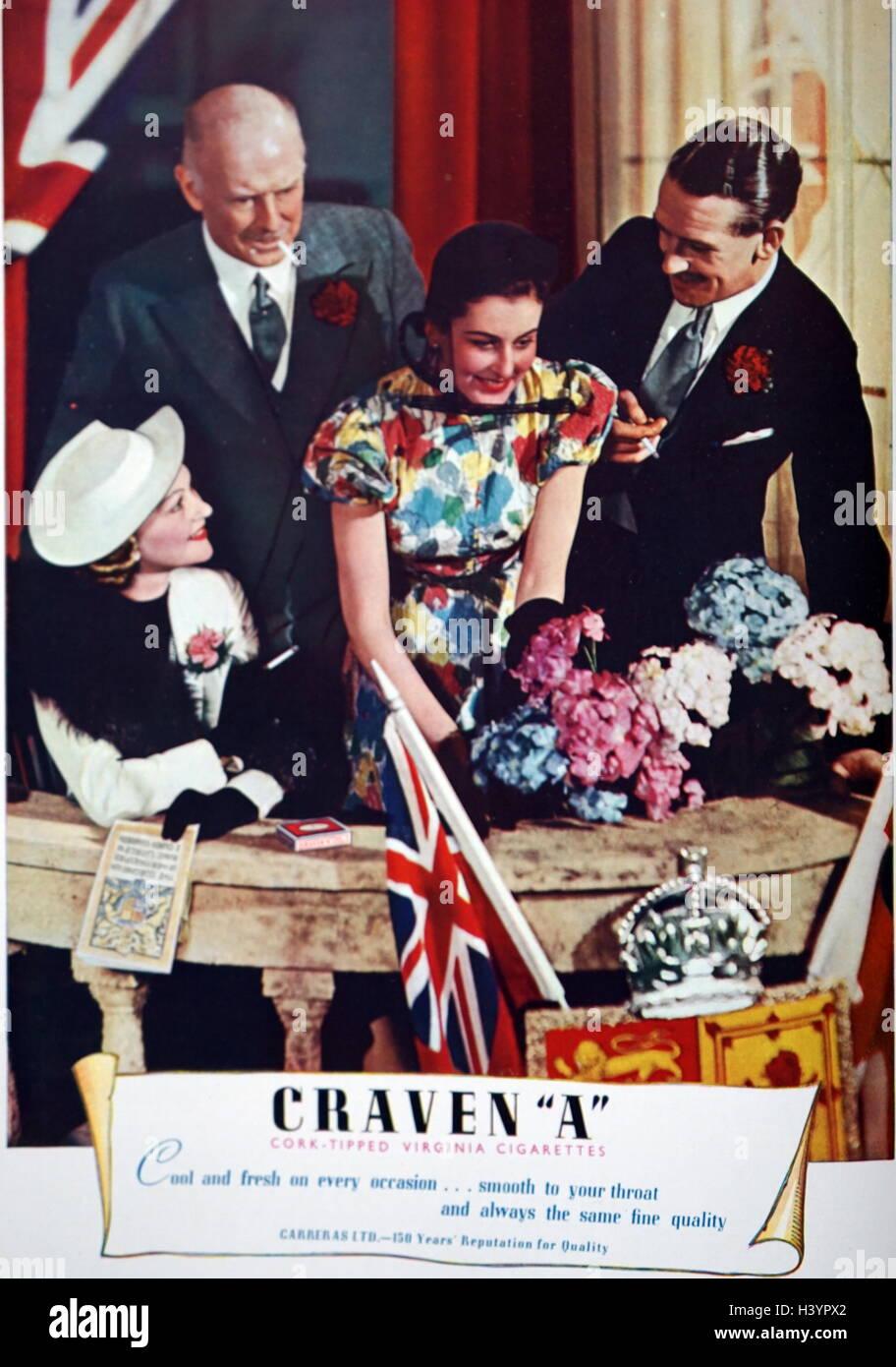 British Magazine Advert for Craven cigarettes 1953 - Stock Image