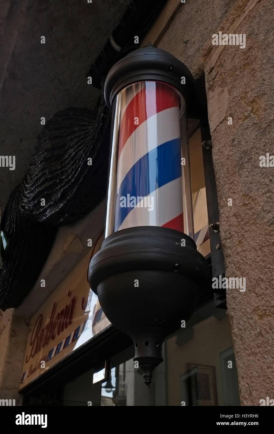barber shop sign or Barber's pole - Stock Image