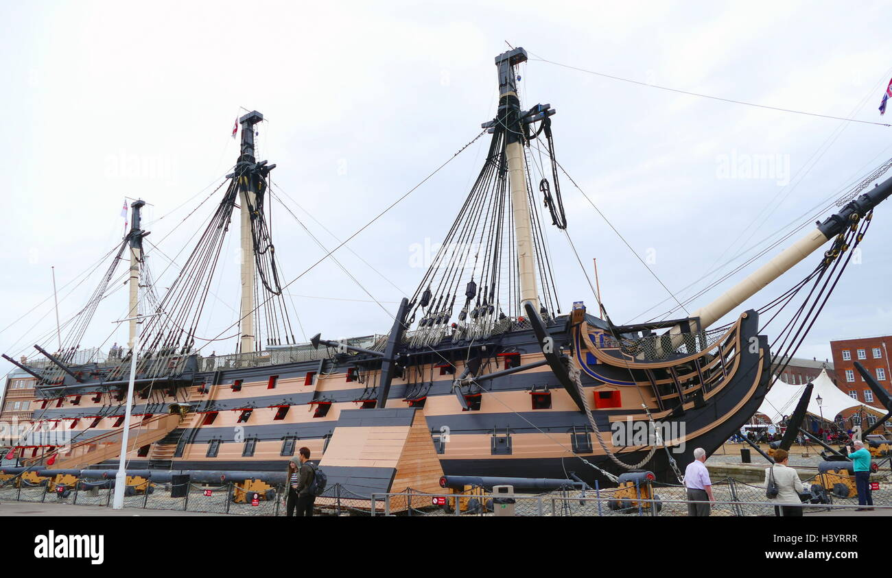 HMS Victory is a 104-gun first-rate ship of the line of the Royal Navy, ordered in 1758, laid down in 1759 and launched Stock Photo