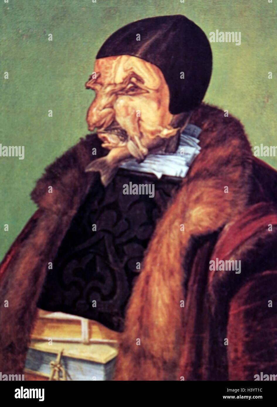 Painting titled 'The Jurist' by Giuseppe Arcimboldo - Stock Image