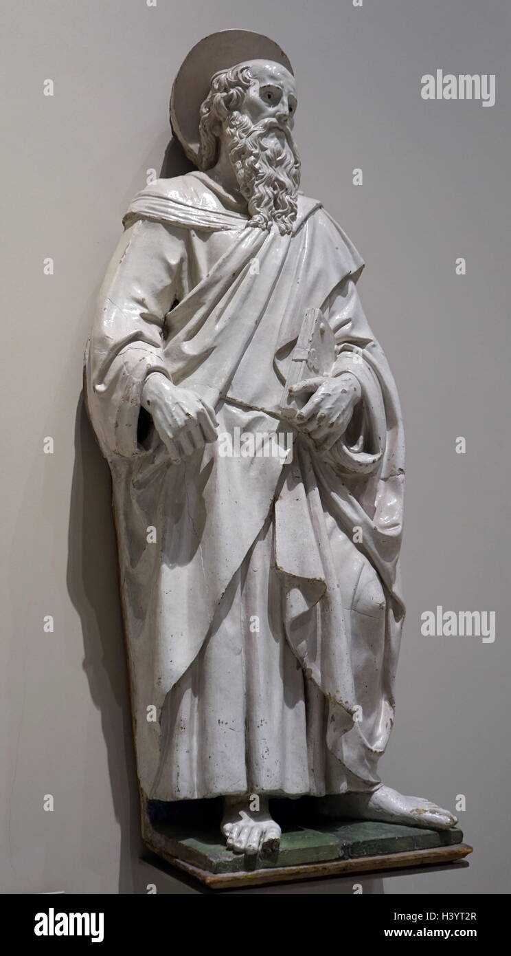 Statue of Saint Bartholomew from the workshop of Andrea della Robbia - Stock Image
