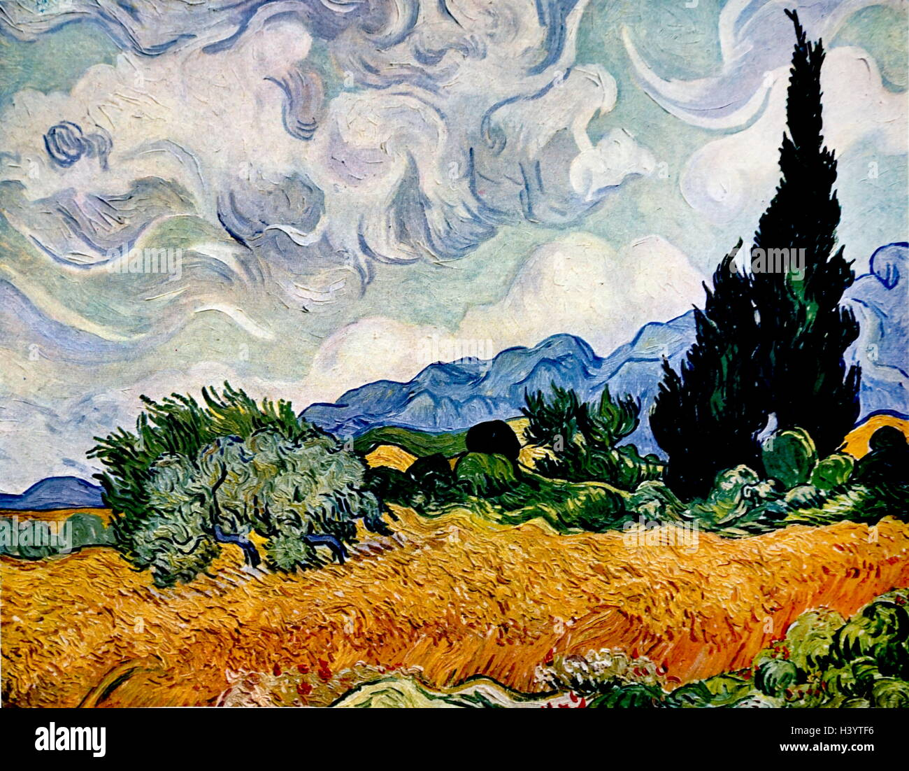 Painting titled 'Wheat Field with Cypresses' by Vincent van Gogh (1853-1890) a Dutch painter and draftsman. - Stock Image