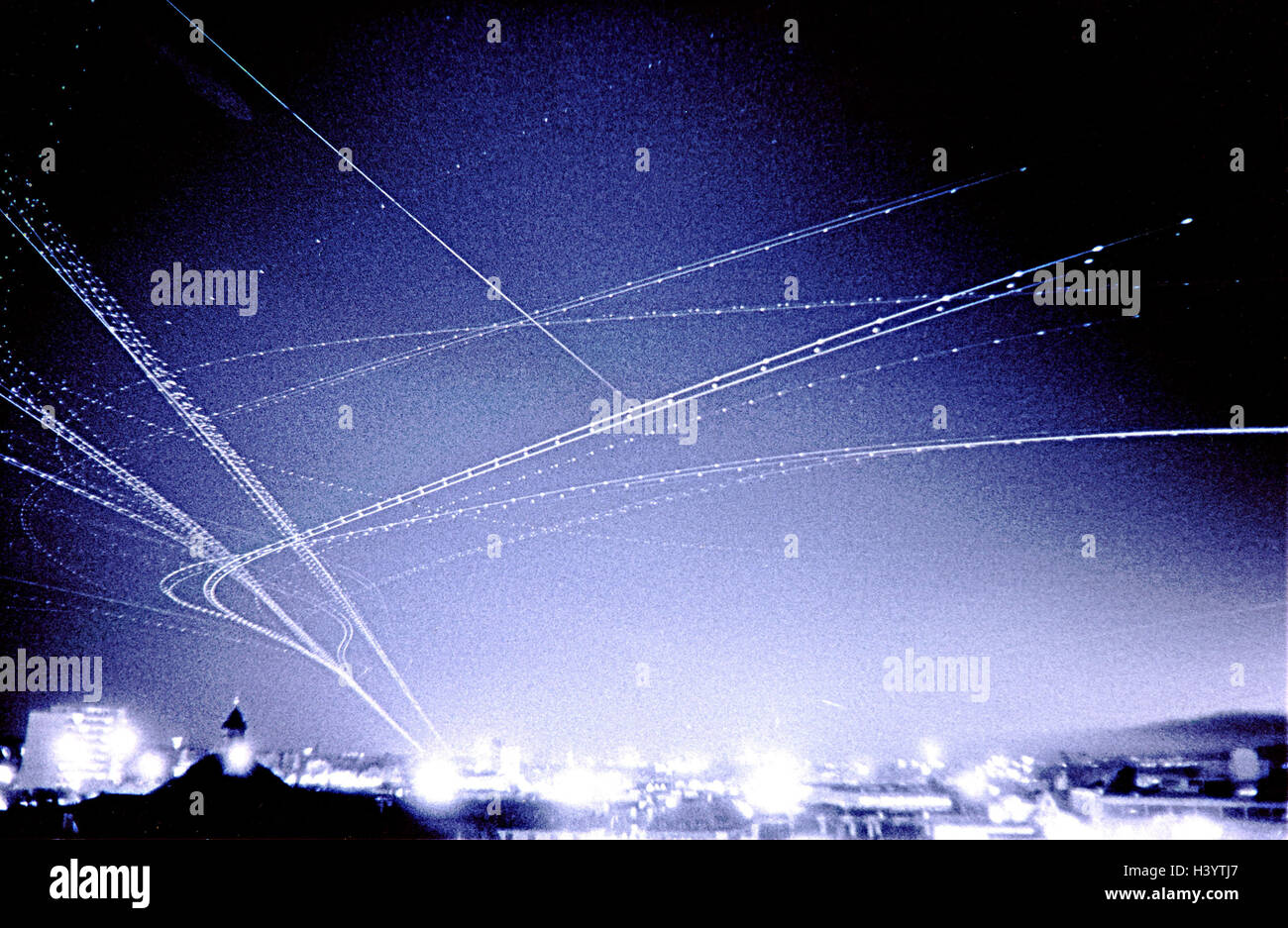 Composing, flight routes, instrument Landing system, ILS, night, air traffic, air traffic, navigation system, airlines, - Stock Image