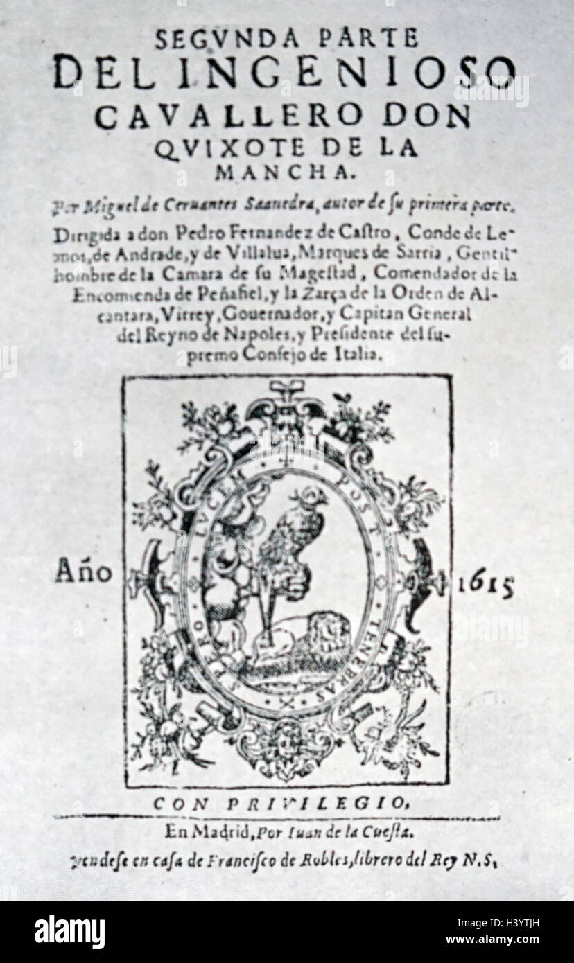 Cover of the princeps edition of the second volume of Don Quixote by Miguel de Cervantes - Stock Image