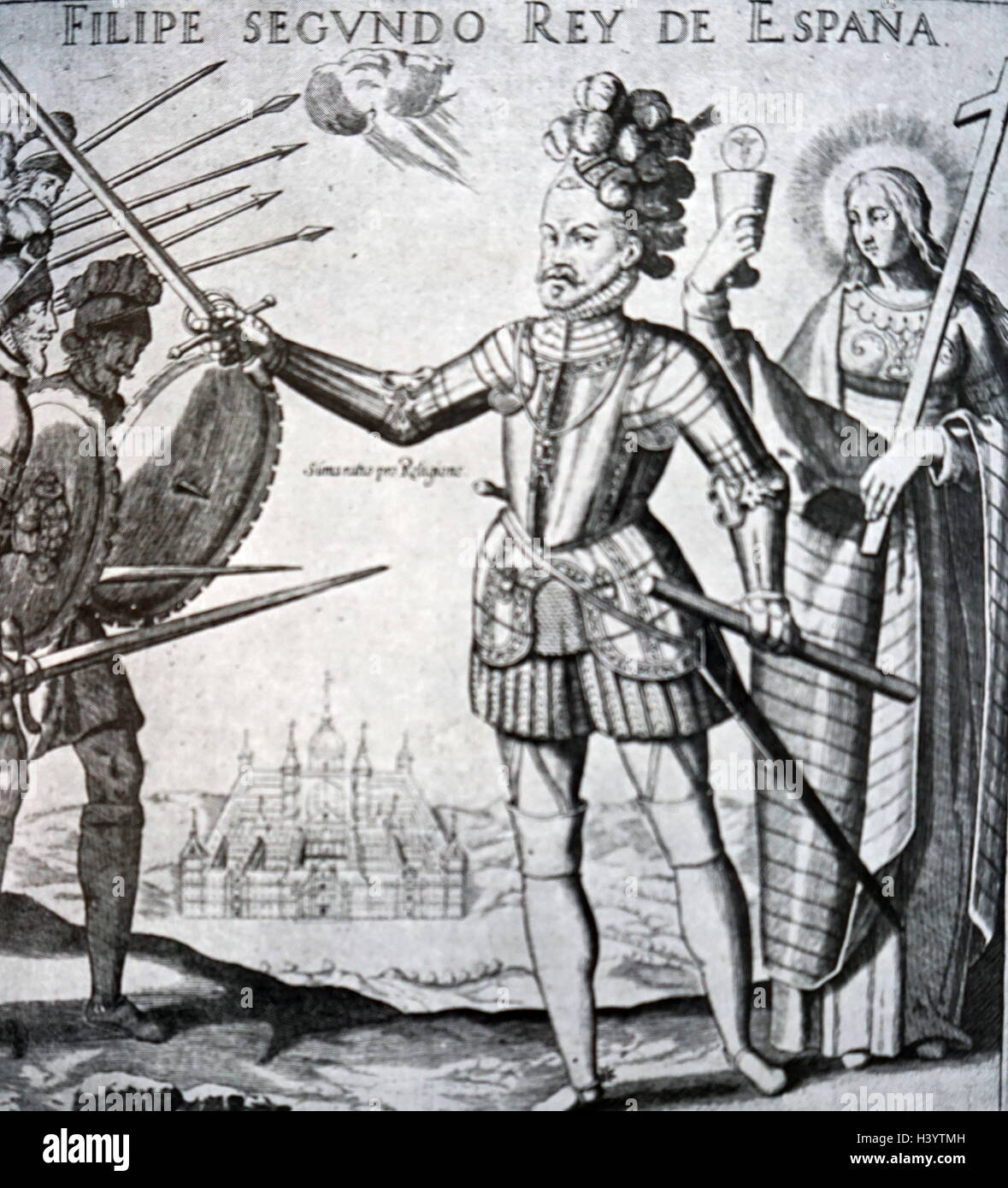Illustration of Philip II of Spain (1527-1598) King of Spain, Portugal, Naples and Sicily. Dated 16th Century Stock Photo