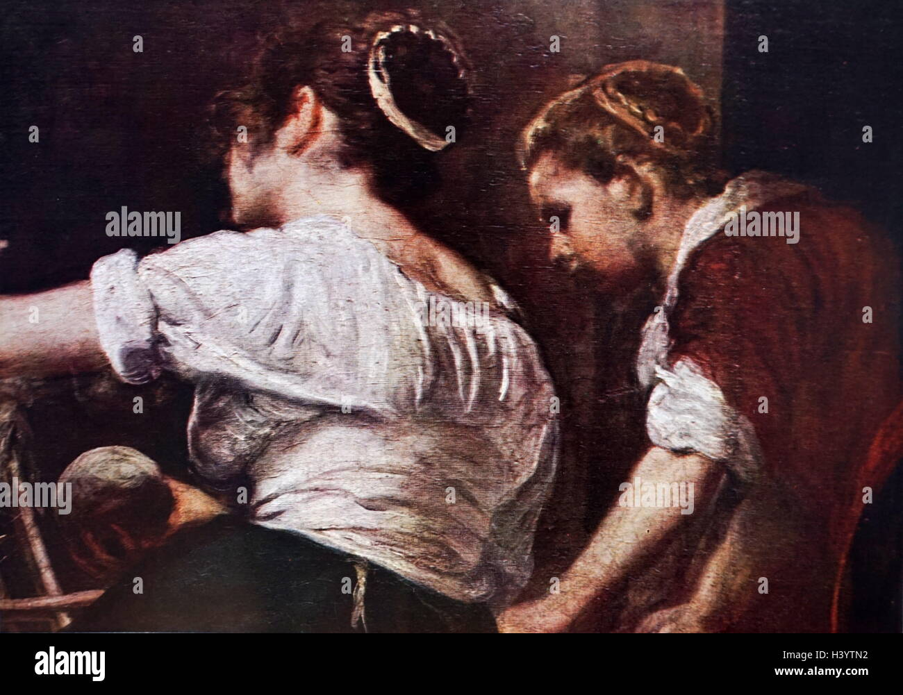 Painting titled 'Las Hilanderas (The Fable of Arachne)' by Diego Velázquez (1599-1660) a Spanish painter. - Stock Image