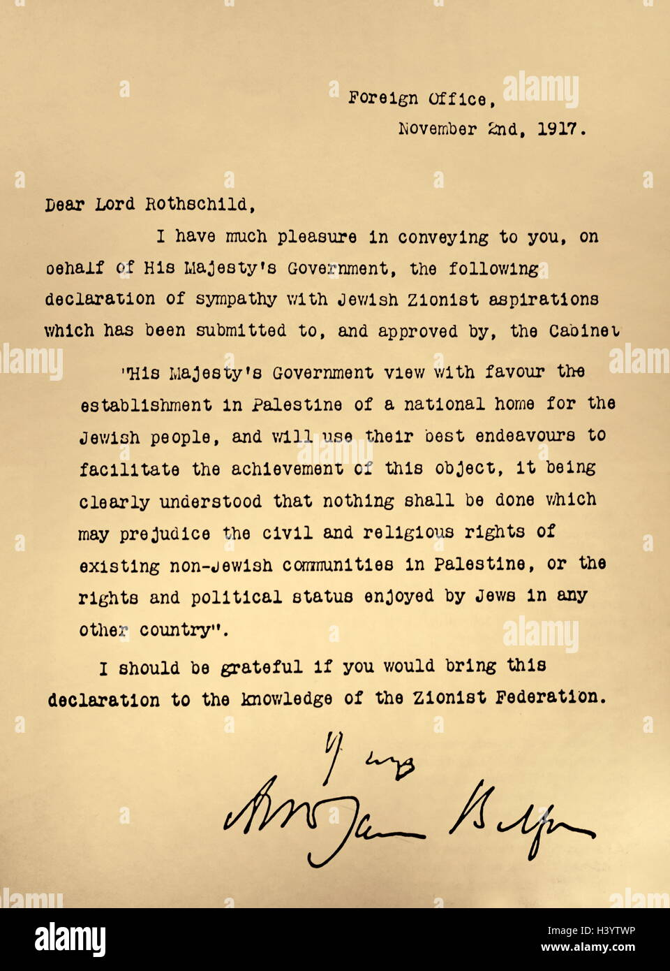 Letter from the Foreign Office to Lord Rothschild known as the 'The Balfour Declaration'. Dated 20th Century - Stock Image