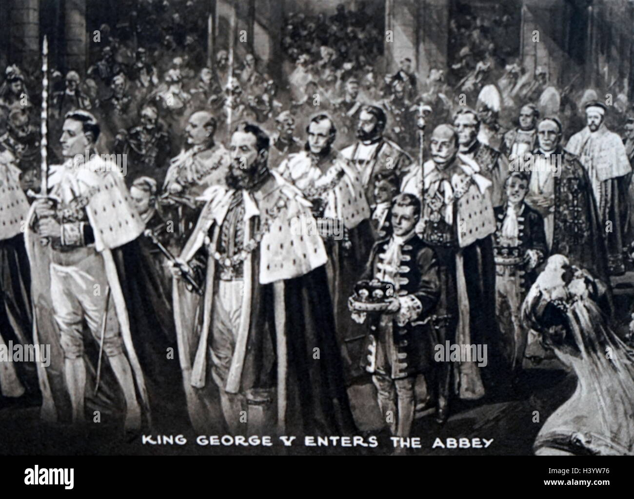 Painting of King George V (1865-1936) during the King's coronation. Dated 20th Century - Stock Image