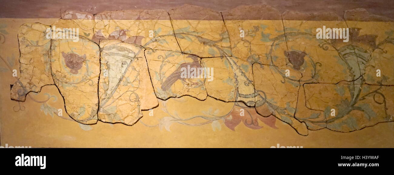 Large painted panels from Hertfordshire. Dated 2nd Century - Stock Image