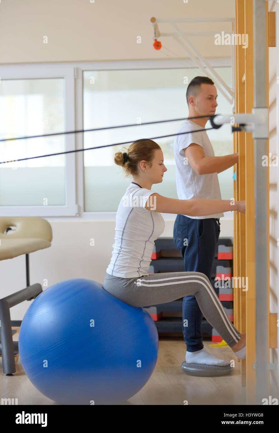 elongation treatment of low back pains - Stock Image