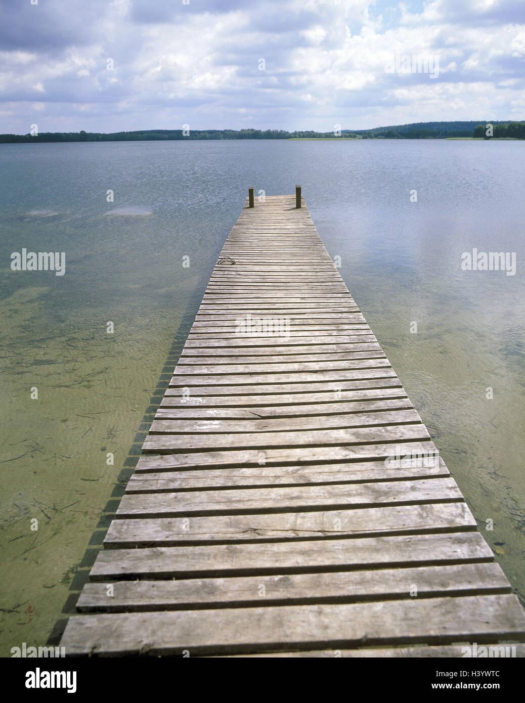 Poland, Olsztyn, lake, wooden jetty, Europe, East, Europe, East Prussia, Masuria, Allenstein, scenery, waters, bridge, - Stock Image