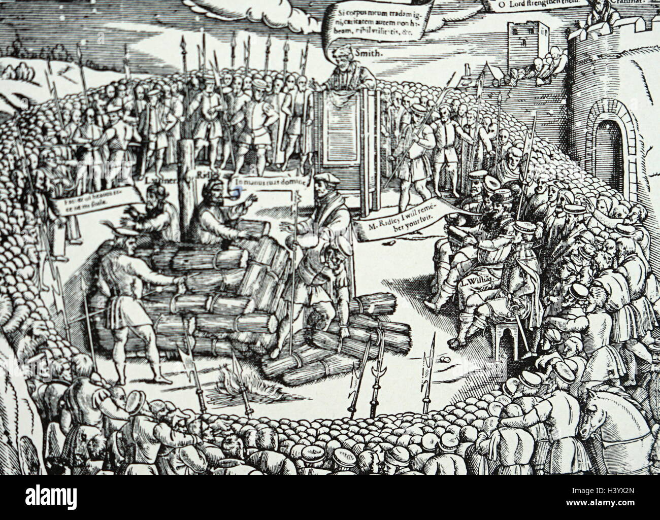 Engraving depicting the burning of Nicholas Ridley and Hugh Latimer - Stock Image