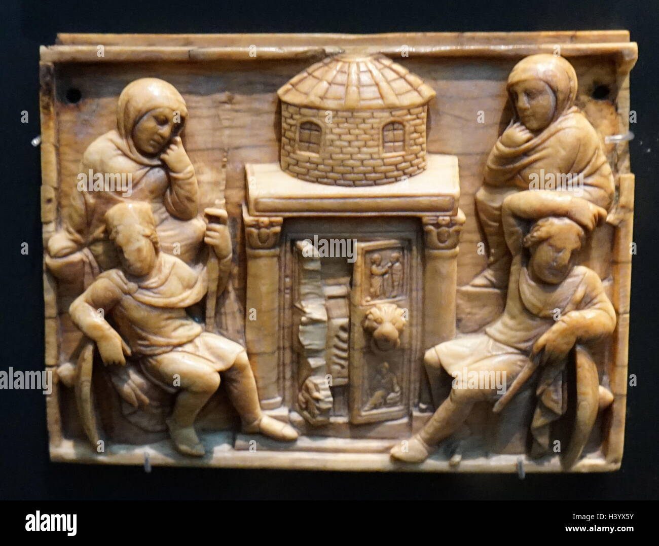 Ivory casket panels depicting events around the death of Christ. Dated 5th Century - Stock Image
