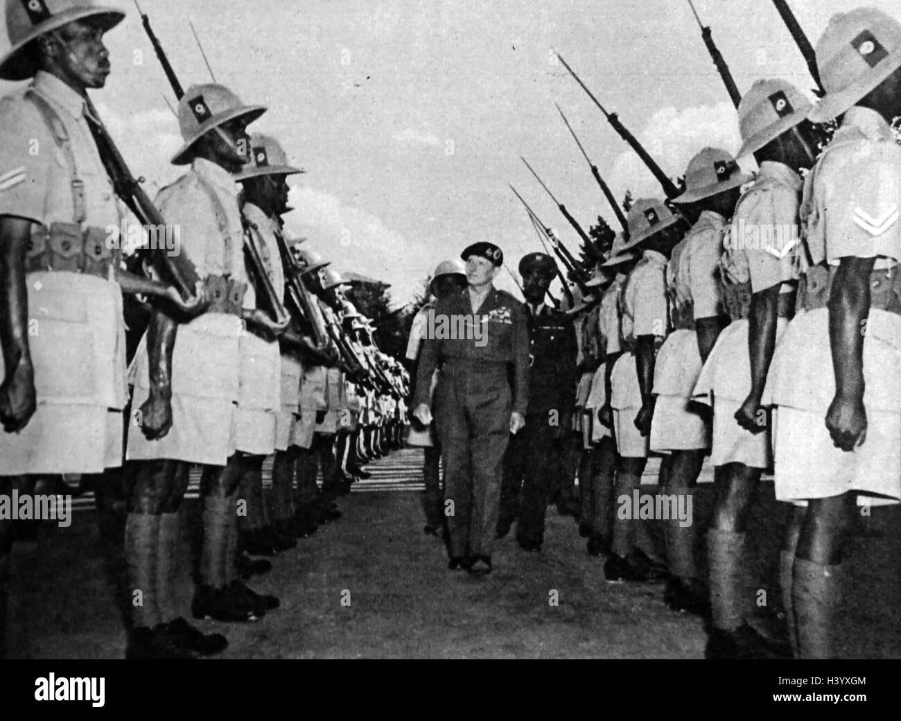 Photograph of Field Marshall Bernard Montgomery during his inspection of the Imperial Troops of Ethiopia - Stock Image