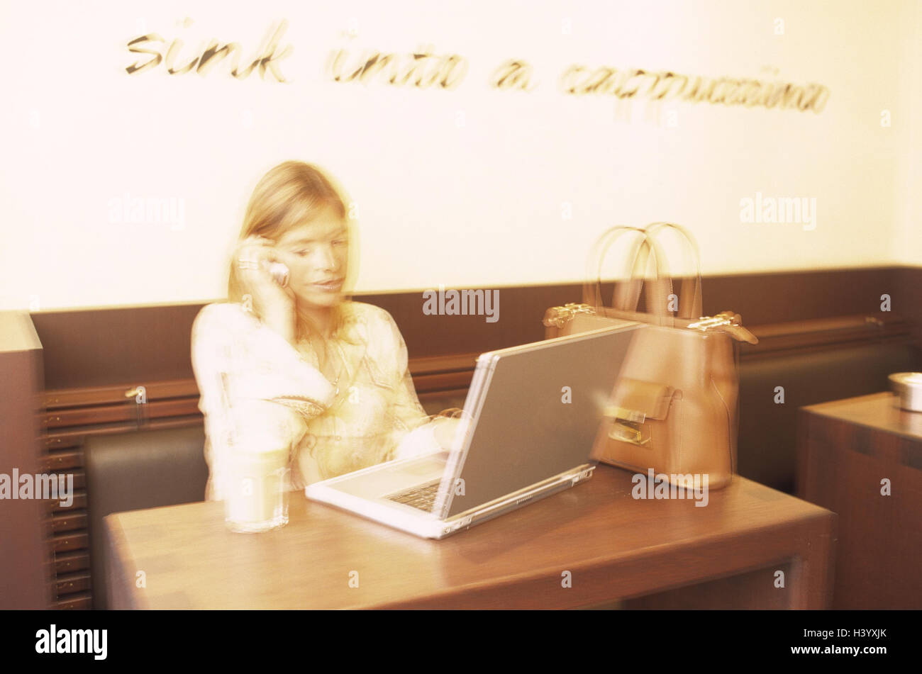 Woman, call up young, cafe, notebook computer, mobile phone, blur, manipulated, bar, standing cafe, inside, work, - Stock Image