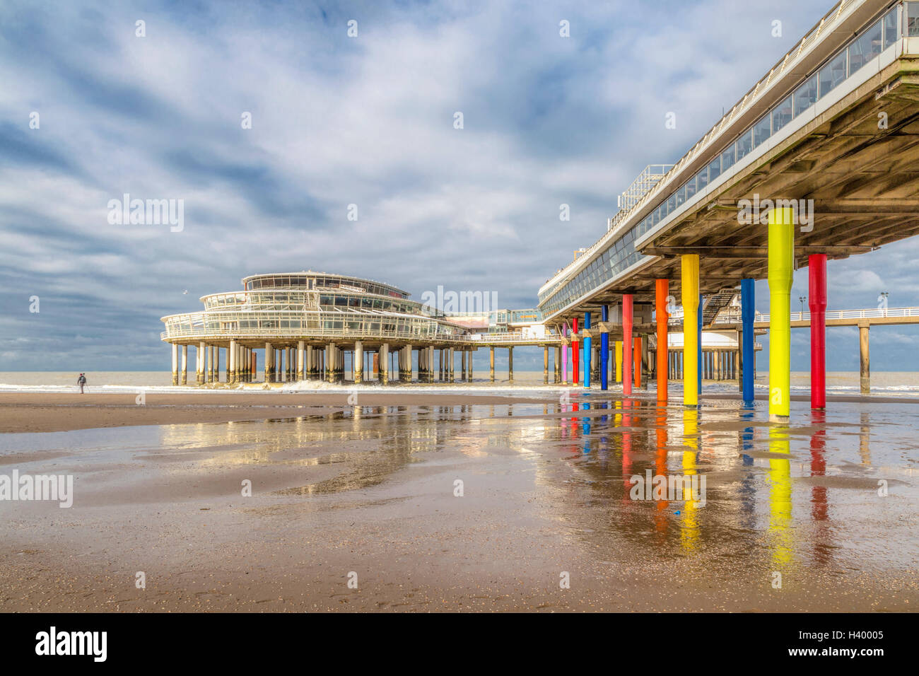 Beach and Pier of Scheveningen, Den Haag, The Hague, on the Dutch North Sea coast, South Holland, The Netherlands, Stock Photo