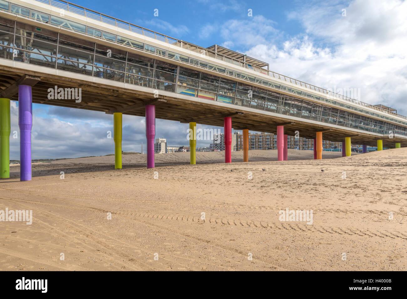 Beach and Pier of Scheveningen, Den Haag, The Hague, on the Dutch North Sea coast, South Holland, The Netherlands, Stock Photo