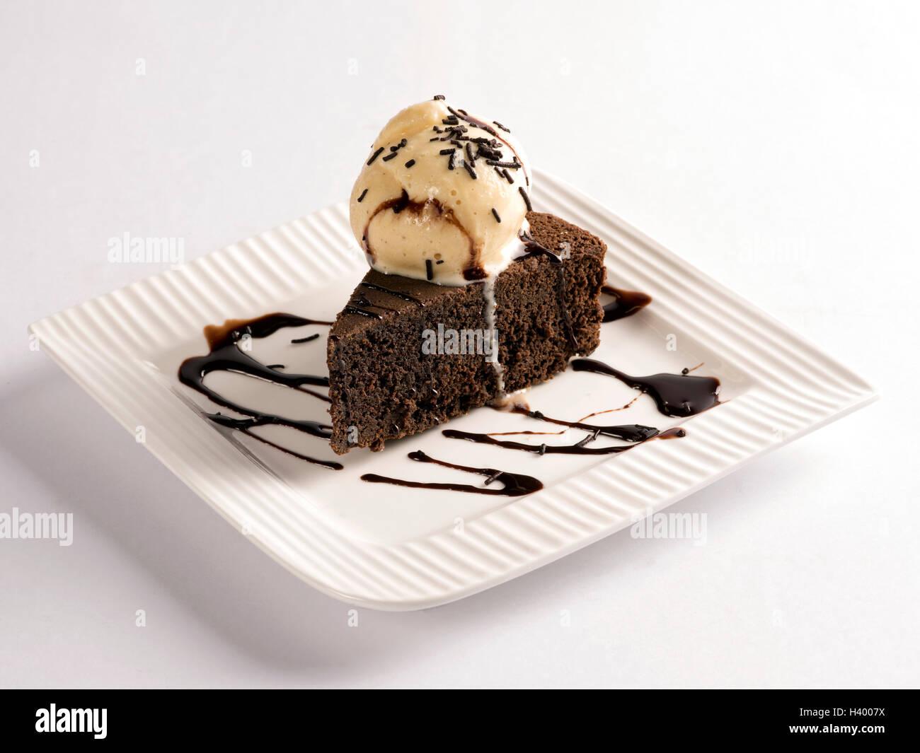 Brownie with vanilla icecream - Stock Image