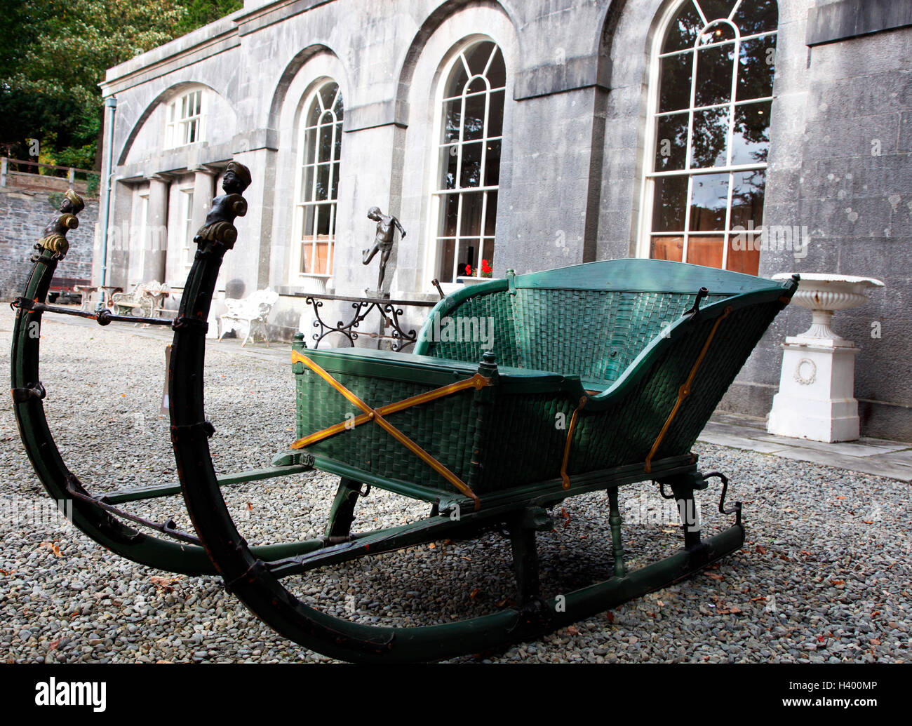 19th c Baltic timber framed iron mounted sleigh sold at Adams Country House Collections sale in Townley Hall, Ireland - Stock Image