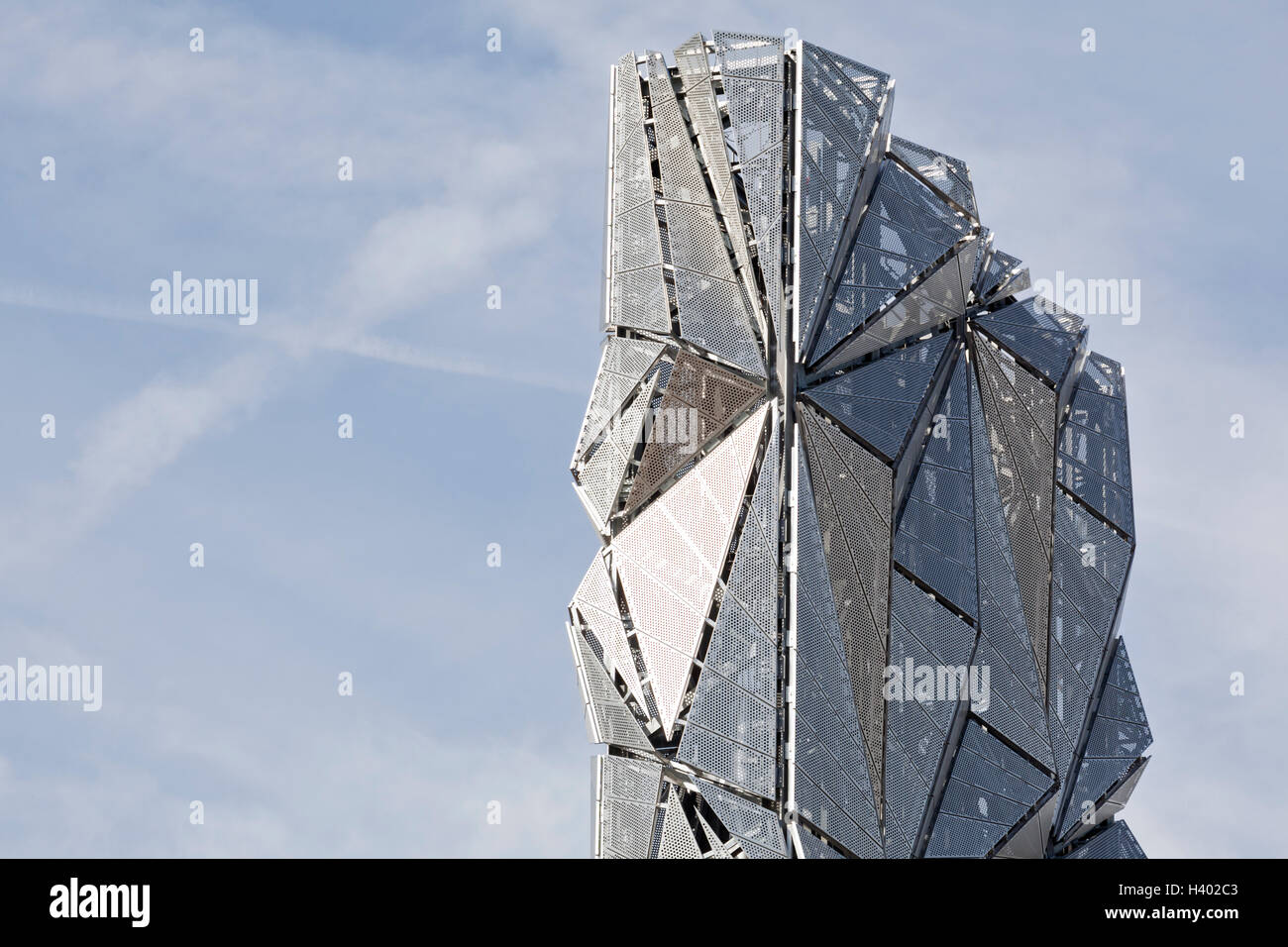 The Optic Cloak, Greenwich Peninsula, London. Upper elevation view. - Stock Image