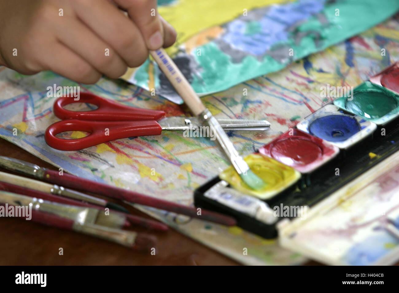 Classroom, art education, schoolboy, detail, hand, brush