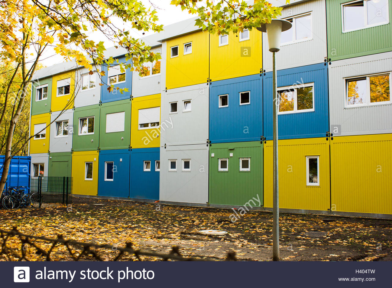 Residential home for refugees in Berlin Germany, mainly syrian and iraq muslims, refugee crisis and immigration - Stock Image