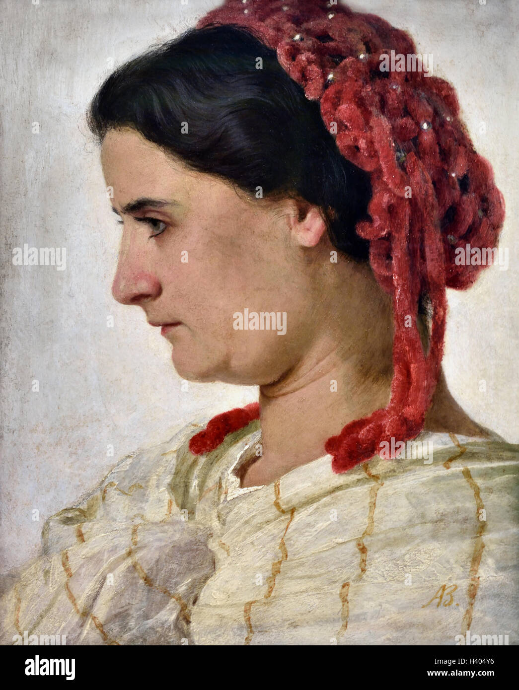 Arnold Böcklin 1827-1901 seine Ehefrau Angela mit rotem Haarnetz - His wife Angela with a red hairnet 1863 - Stock Image